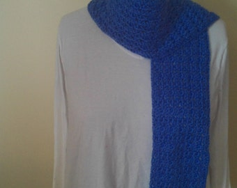 Blue crocheted scarf