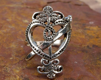 ERZULIE DANTOR RING - Sterling 925 Silver Voodoo Vodou Veve - Made To Order in Your Size