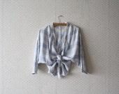 vintage 1980's tieable light blue blouse