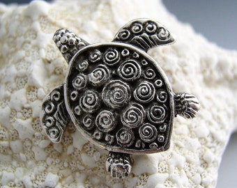 Naos - Sea Turtle Pendant - Mykonos Greek Pendant Antiqued Silver - Double Sided with Spirals