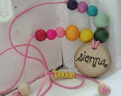 Rainbow Waldorf fairy wooden bead personalized tree-slice necklace for girls boys kids