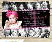 Girls 12 Photo Birthday Invitation- 1st Year Collage