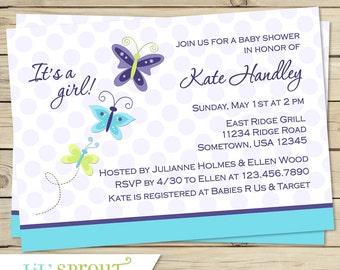 Purple Butterfly Girl Baby Shower Invitation, Beautiful Butterfly Baby Shower Invitation, Butterfly Printable Baby Shower Invite, Aqua Teal