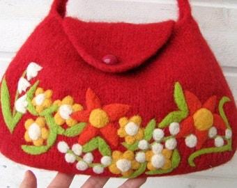 Felted bag purse red wool handbag shoulderbag hand knit needle felt flowers