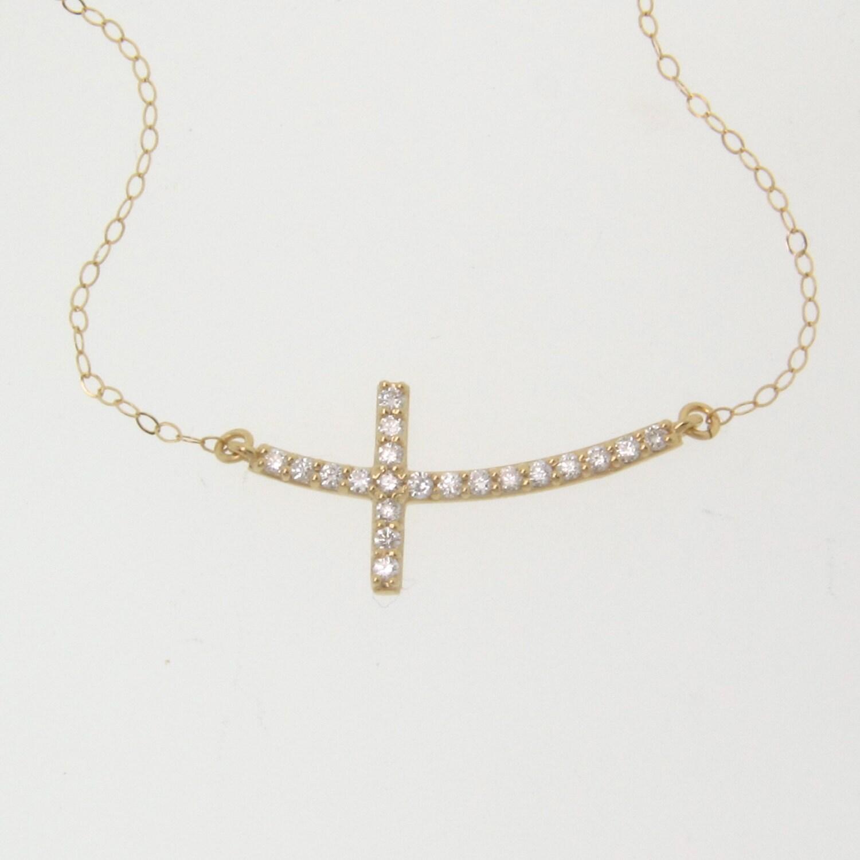 Sideways Curved Cross Necklace: Diamond Sideways Cross Necklace Curved 14K Solid Gold And