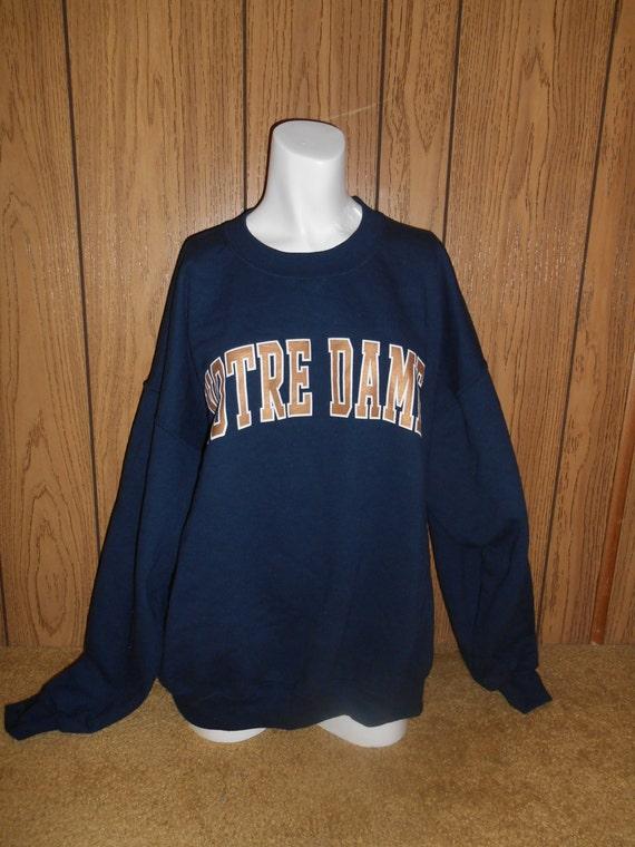 vintage clothing sweatshirt blue notre dame fighting
