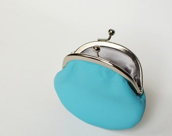 Blue Leather Clasp Change Purse Coin Purse Lambskin