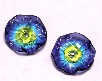Handmade Lampwork Glass Beads - Crocus Fairy Flower disks