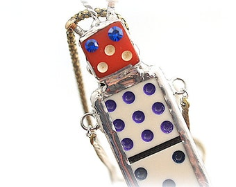 Robot Necklace  Soldered Mixed Media Assemblage Pendant