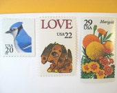 Vintage Postage Stamps Unused, Flowers Stamp, Love Puppy Stamp, Blue Jay Postage, Mail 20 Wedding Invitations 2 oz 71 cents nature postage