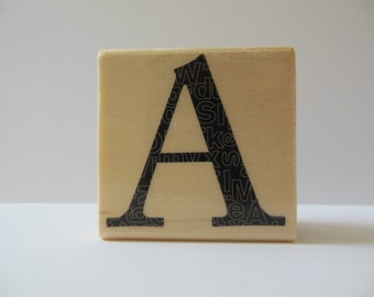 Letter A Rubber Stamp - Modern Monogram Collection - Wood Mounted Rubber Stamp - Alphabet Letter A Stamp