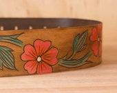 Leather Flower Guitar Strap - Linea pattern in orange, pink, emerald and antique brown