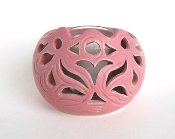 Candle Holder -  Candy Pink Glaze - Votive Candle Included