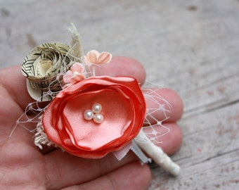 Coral Boutonniere, Fabric flower and vintage sheet music boutonniere custom made in any color, grooms boutonniere boutineer