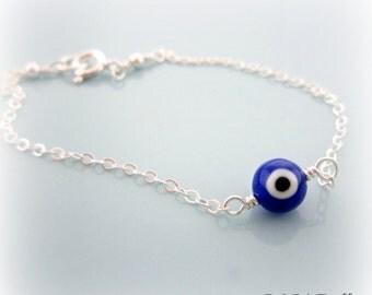 Sterling Silver Dark Blue Evil Eye Bracelet