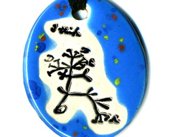 Darwin Tree Ceramic Necklace in Bright Speckled Blue