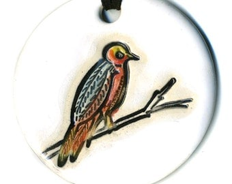 Surly Bird Ceramic Necklace in White