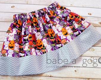Witchy Kitty Halloween Skirt for Babies, Toddlers and Girls by babe-a-gogo