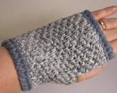 slate blue and white colored fingerless gloves made from a recycled cotton sweater and wool blend yarn