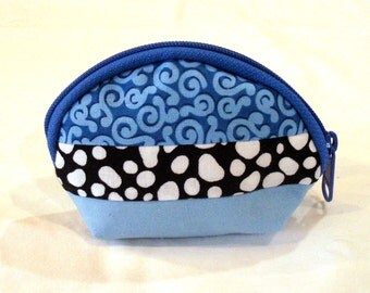Coin Purse in Black and Blue