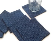Slate Blue Cocktail Napkins Eco Friendly 100% Cotton Appetizer Napkins Coasters Entertaining Party - set of 6