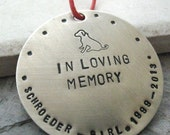 Personalized Pet Memorial Ornament, Dog Memorial Ornament, Cat Memorial Ornament, nickel silver, 47 character max, please read listing