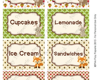 Printable Woodland Animals Birthday Food Labels