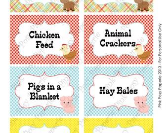 Printable Farm Animal Birthday Food Labels
