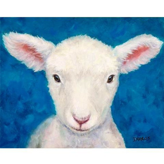 Sheep Art Original Oil Painting Lamb On Blue By Dottiedracos