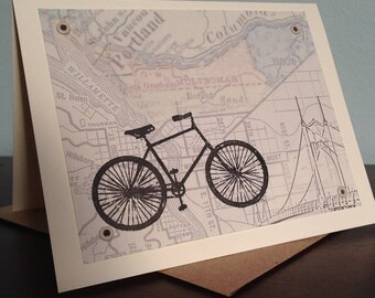 Portland Map and Bike - Screen-Printed Card