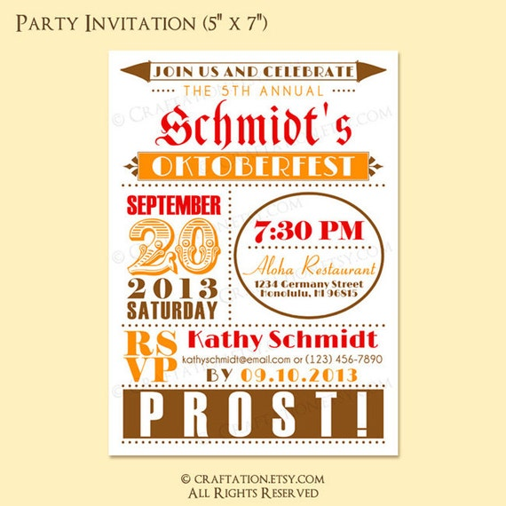 Custom Modern Retro OKTOBERFEST Birthday Party Invite Digital Design - Old Fashioned/Dots/Circle - Beer/Pretzel - RESERVED for aaronheidi