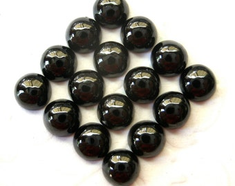 Gemstone Cabochons Black Onyx Round 6mm FOR FOUR