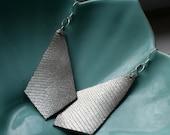 Silver Spot Leather Earrings