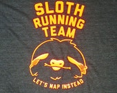 Sloth running team workout runner shirt lets nap instead black with neon orange