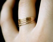 Gold stacking rings, set of 5, gold stack ring, Ultra Thin, hammered gold ring, skinny gold ring, delicate gold ring, minimalist ring
