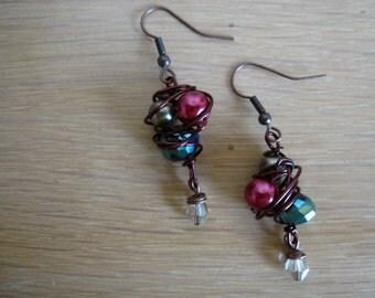 Beautiful Copper Wire Wrapped Earrings