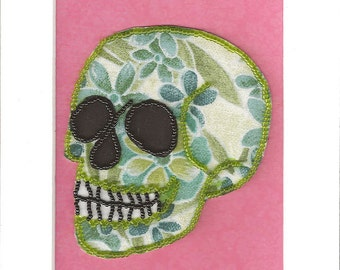 Bead Embroidered Skull // Green // Flower Flower // Seed Bead // Mixed Media Art // Beaded Painting