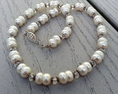 White Pearl and Crystal Quartz Necklace, Wedding Jewelry, Classic Pearl Necklace, June Birthstone