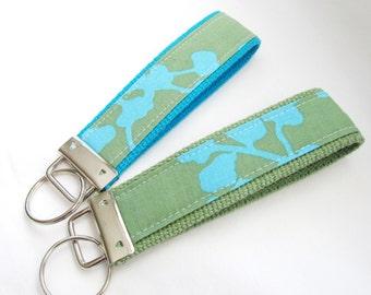Wristlet Key Fob Key Chain in Amy Butler Coriander in Teal - Choose Aqua or Sage webbing