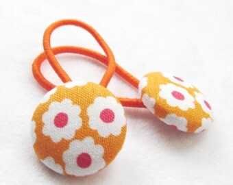 Ponytail holders - Flowers on Orange - fabric covered button hair ties