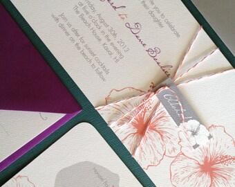 TWINE COLLECTION-  DEPOSIT Vintage Hawaiian invitation, purple, orange and grey