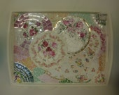 Reserved for Rebabrown SHABBY CHIC romance  Floral broken china SERVING  tray