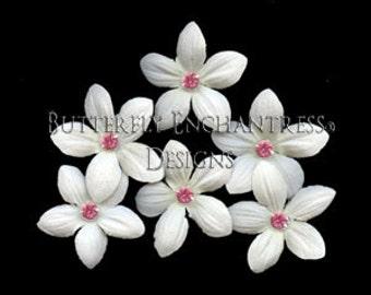 Wedding Hair Flowers, Bridal Hair Accessories, Pink Wedding - 6 Creamy White Stephanotis Hair Pins - Pink Rhinestone Centers