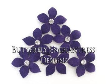 Purple Wedding, Bridal Hair Flowers, Wedding Flower Hair - 6 Purple Harper Jasmine Flower Hair Pins - Rhinestone Centers