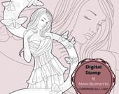Digital Stamp - Printable Coloring Page - Fantasy Art - Melancholy Moth Stamp - Adeline - by Nikki Burnette - COMMERCIAL USE