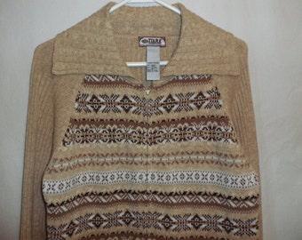 Tiara L large tan brown stripe wide collar cotton ramie blend vintage front zipper sweater ladies 16 18