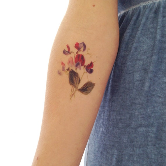 Vintage floral temporary tattoo sweet pea by for Floral temporary tattoos