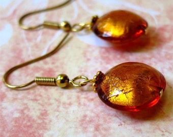 Earrings amber gold venetian glass