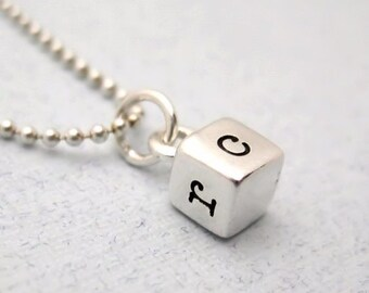 Initial Necklace - Pesonalized Jewelry - Hand Stamped Necklace - Sterling Silver Cube Necklace with Four Initials
