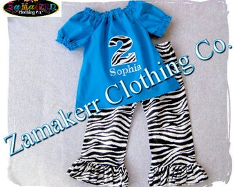 Girl Birthday Zebra Outfit - Peasant Dress Top Sash Funky Zebra Ruffled Pant Outfit Set 3 6 9 12 18 24 month size 2T 2 3T 3 4T 4 5T 5 6 7 8